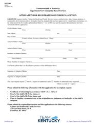 "Form DPP-188 ""Application for Registration of Foreign Adoption"" - Kentucky"