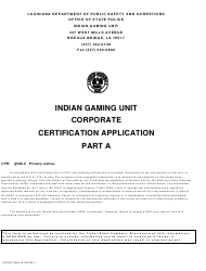 """Form DPSSP0094 Part A """"Corporate State Certification Application - Gaming and Non-gaming Suppliers"""" - Louisiana"""