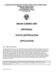 "Form DPSSP0092 ""Gaming Employee Certification Application"" - Louisiana"