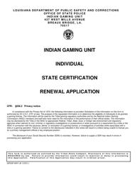 "Form DPSSP0093 ""Gaming Employee State Certification Renewal Application"" - Louisiana"