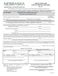 """Application for Copy of Driving Record"" - Nebraska"