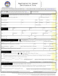"""Form MV1A """"Application for Vessel Certificate of Title"""" - Montana"""