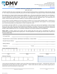 """Form SP-34 """"Classic Vehicle License Plate Application"""" - Nevada"""
