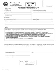 "Form ED-01 ""Scholarship Organization Application"" - New Hampshire, 2022"