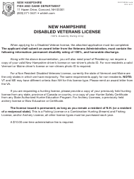 """Form BUS18005A """"Application for New Hampshire Disabled Veterans License"""" - New Hampshire"""