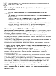 """Form BUS1605A """"Application for Wildlife Control Operator License"""" - New Hampshire"""