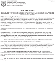"""Form BUS18005B """"Application for New Hampshire Disabled Veterans Resident Lifetime License"""" - New Hampshire"""