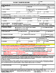 """59 MDW Form 27 """"Patient Transfer Record"""""""