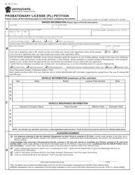"Form DL-20 ""Probationary License (Pl) Petition"" - Pennsylvania"