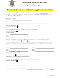 """Portable Electronics Vendor/Renewal Supplemental Application"" - Rhode Island"