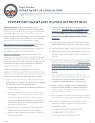 """Export Document Application"" - South Carolina"