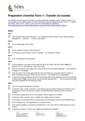 "Form 1 ""Preparation Checklist - Transfer (To Trustee)"" - Queensland, Australia"