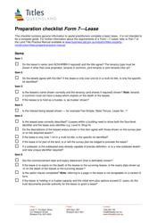 "Form 7 ""Preparation Checklist - Lease"" - Queensland, Australia"