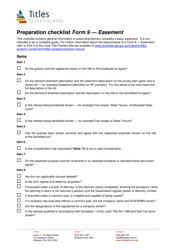 "Form 9 ""Preparation Checklist - Easement"" - Queensland, Australia"