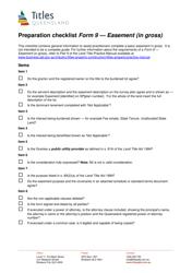 "Form 9 ""Preparation Checklist- Easement (In Gross)"" - Queensland, Australia"