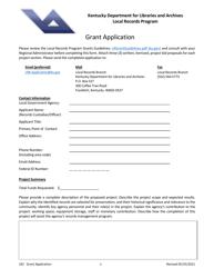 "Form LR2 ""Local Records Program Grant Application"" - Kentucky"