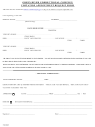 """""""Green River Correctional Complex Visitation Appointment Request Form"""" - Kentucky"""