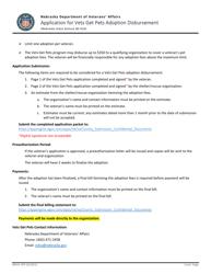 "Form NDVA VGP ""Application for Vets Get Pets Adoption Disbursement"" - Nebraska"