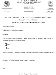 """""""Missing and Murdered Indigenous Women and Relatives Task Force Tribal Representative Designation Form"""" - New Mexico, 2022"""