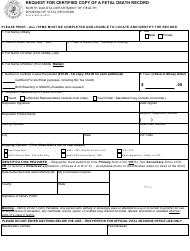 """Form SFN61643 """"Request for Certified Copy of a Fetal Death Record"""" - North Dakota"""