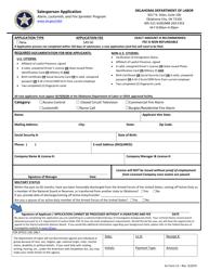 "AL Form 13 ""Salesperson Application - Alarm, Locksmith, and Fire Sprinkler Programins"" - Oklahoma"