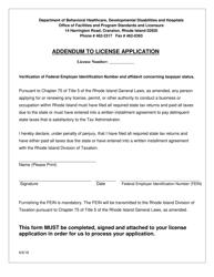 """""""Addendum to License Application"""" - Rhode Island"""
