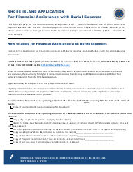 """""""Rhode Island Application for Financial Assistance With Burial Expense"""" - Rhode Island"""