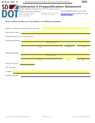 """Form DOT-144 (SD Form 0945) """"Contractor's Prequalification Statement"""" - South Dakota"""