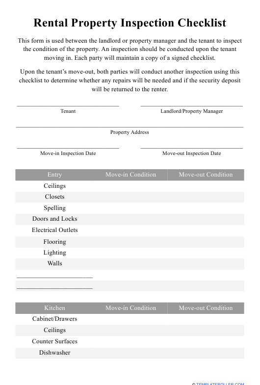 """""""Rental Property Inspection Checklist Template"""" Download Pdf"""