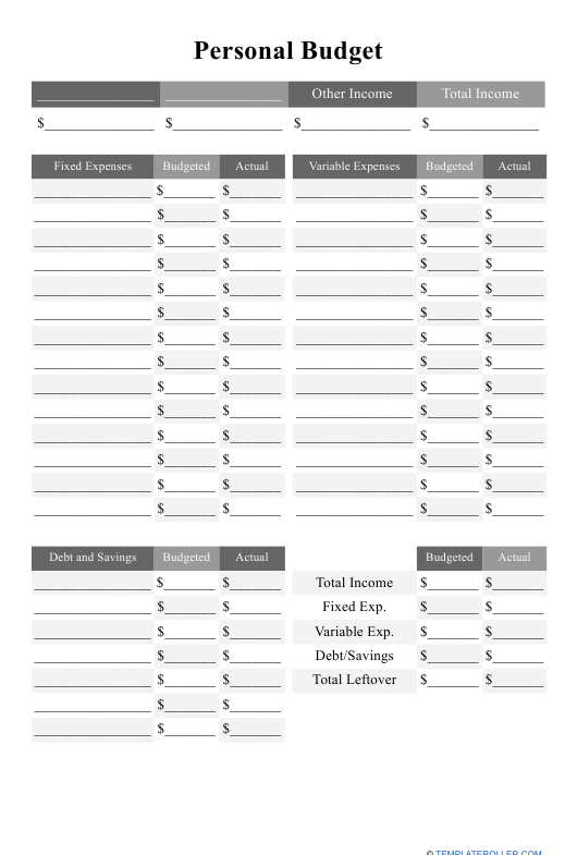 """""""Personal Budget Template"""" Download Pdf"""
