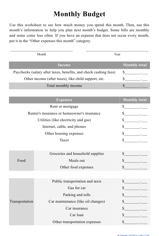 """""""Monthly Budget Template"""" Download Pdf"""