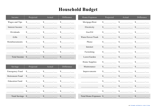 """""""Household Budget Template"""" Download Pdf"""