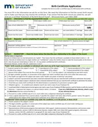 """Birth Certificate Application Form"" - Minnesota"