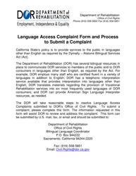"""Language Access Complaint Form"" - California"