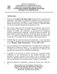 """""""Request for Arbitration - Automobile Dispute Settlement Program"""" - Connecticut"""