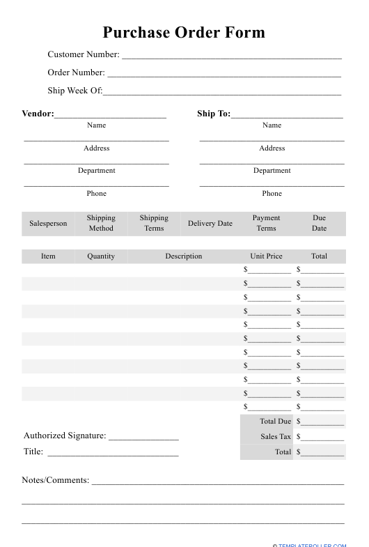 """""""Purchase Order Form Template"""" Download Pdf"""