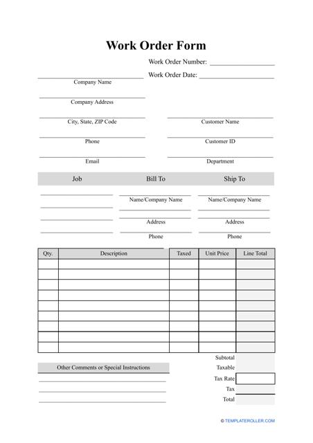 """Work Order Form Template"" Download Pdf"