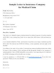 """Sample """"Letter to Insurance Company for Medical Claim"""""""