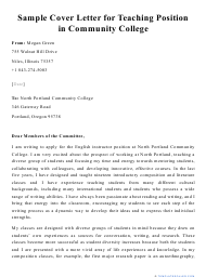 """Sample """"Cover Letter for Teaching Position in Community College"""""""