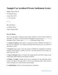 "Sample ""Car Accident Private Settlement Letter"""