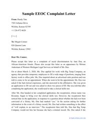"Sample ""EEOC Complaint Letter"""