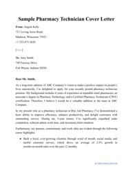 """Sample """"Pharmacy Technician Cover Letter"""""""