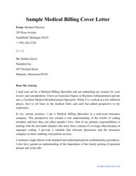 """Sample """"Medical Billing Cover Letter"""""""