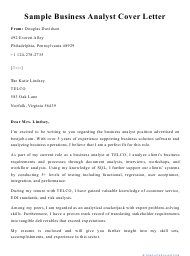 """Sample """"Business Analyst Cover Letter"""""""