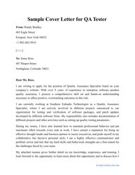 """Sample """"Cover Letter for Qa Tester"""""""