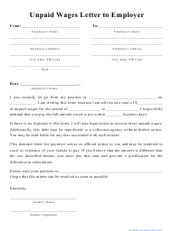 """""""Unpaid Wages Letter to Employer Template"""""""