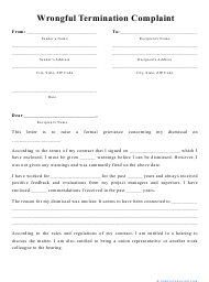 """""""Wrongful Termination Complaint Template"""""""
