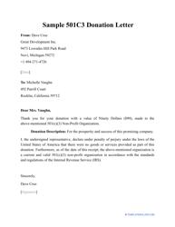 """Sample """"501c3 Donation Letter"""""""