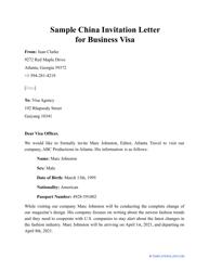"Sample ""China Invitation Letter for Business Visa"""