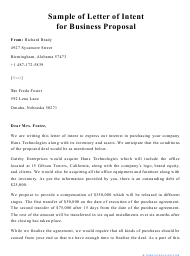 """Sample """"Letter of Intent for Business Proposal"""""""
